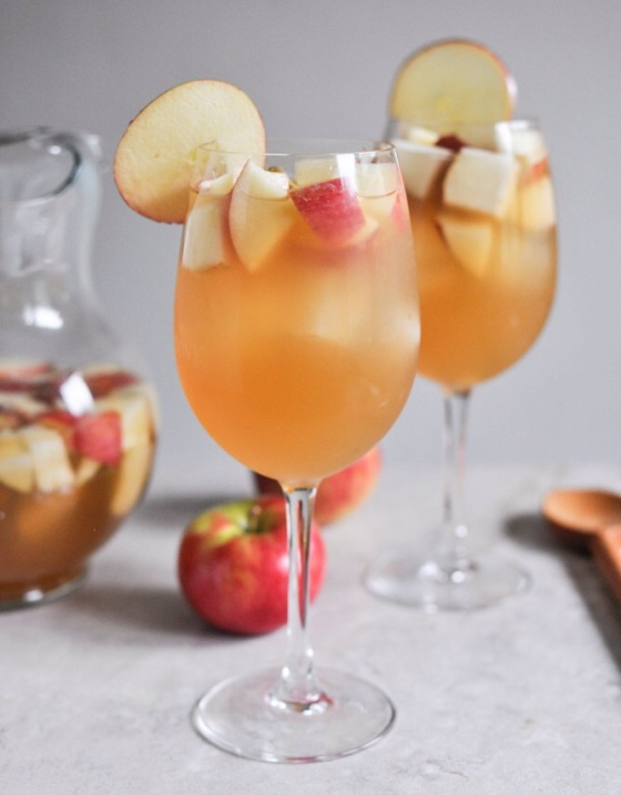 Apple Cider Sangria, perfect for sipping while you decorate the day-of, or if your meal is earlier in the day.