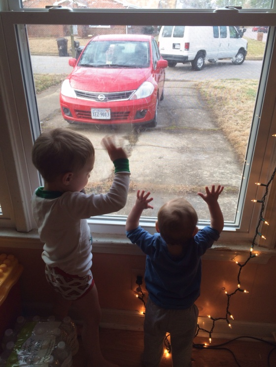 Both the boys love to wave to Mike as he drives away every morning. Makes my heart happy!